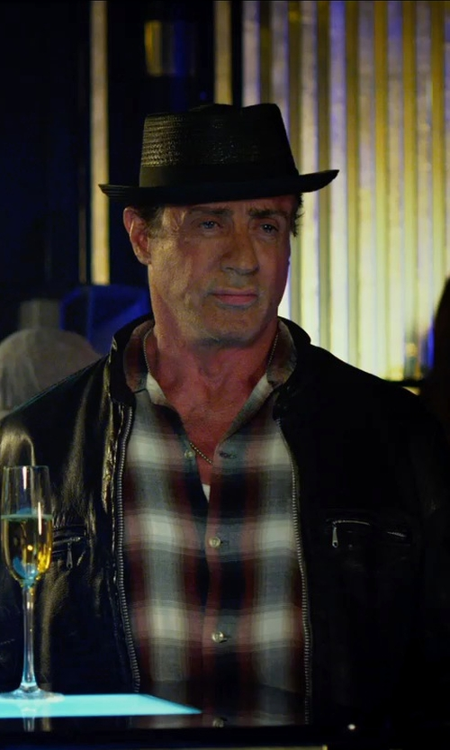 Sylvester Stallone with Mason's Brushed Cotton Multicolor Plaid Shirt - Long Sleeve in The Expendables 3