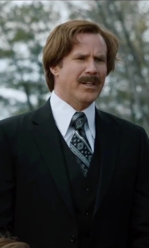 Will Ferrell with Menswearhouse Gray Paisley And Stripe Narrow Tie in Anchorman 2: The Legend Continues