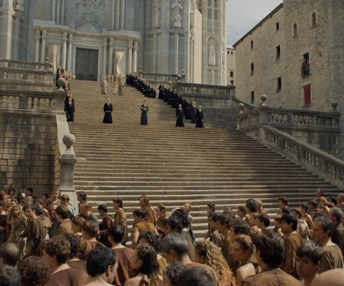 Natalie Dormer with Girona Cathedral (Depicted as Great Sept Of Baelor) Catalonia, Spain in Game of Thrones