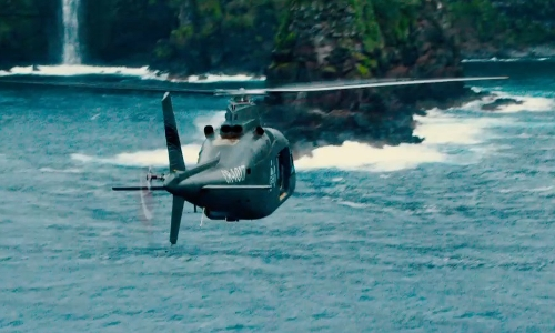 Unknown Actor with Agusta A109A II Turbine Helicopter in Jurassic World
