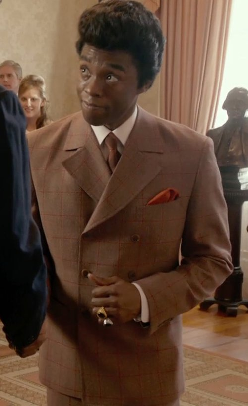 Chadwick Boseman with Armani Collezioni White-On-White Textured Stripe Dress Shirt in Get On Up