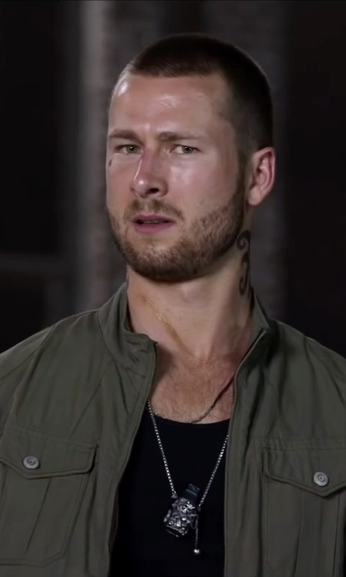 Glen Powell with Armani Jeans Khaki Leather-Trimmed Canvas Jacket in Ride Along 2