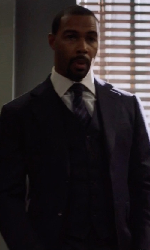 Omari Hardwick with Tom Ford Three Piece Windsor Suit in Power