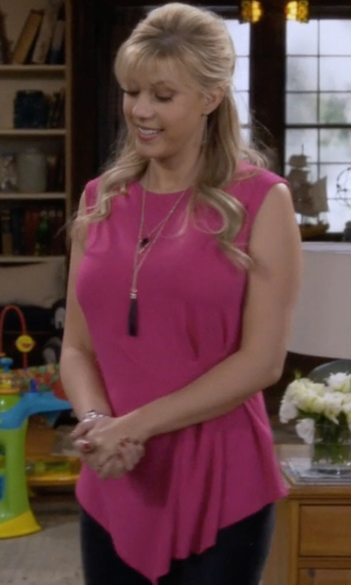 Jodie Sweetin with Vince Camuto Side Pleat Asymmetrical Top in Fuller House