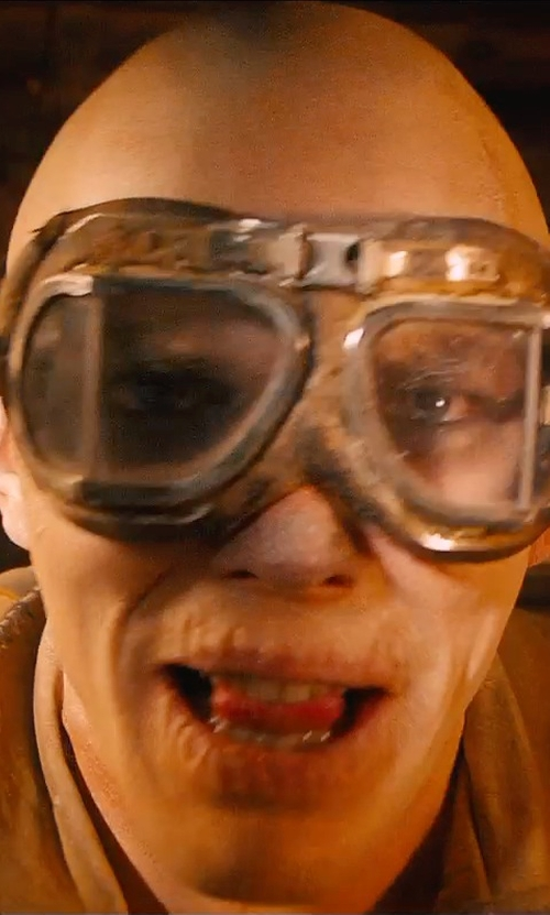 Nicholas Hoult with TMS WWII RAF Aviator Pilot Motorcycle Half Helmet Goggles in Mad Max: Fury Road