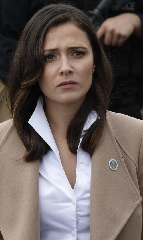 Italia Ricci with Ted Baker Aurore Long Wrap Coat in Designated Survivor