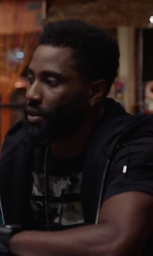 John David Washington with John Varvatos Star USA Terry Knit Zip-Front Hooded Vest in Ballers