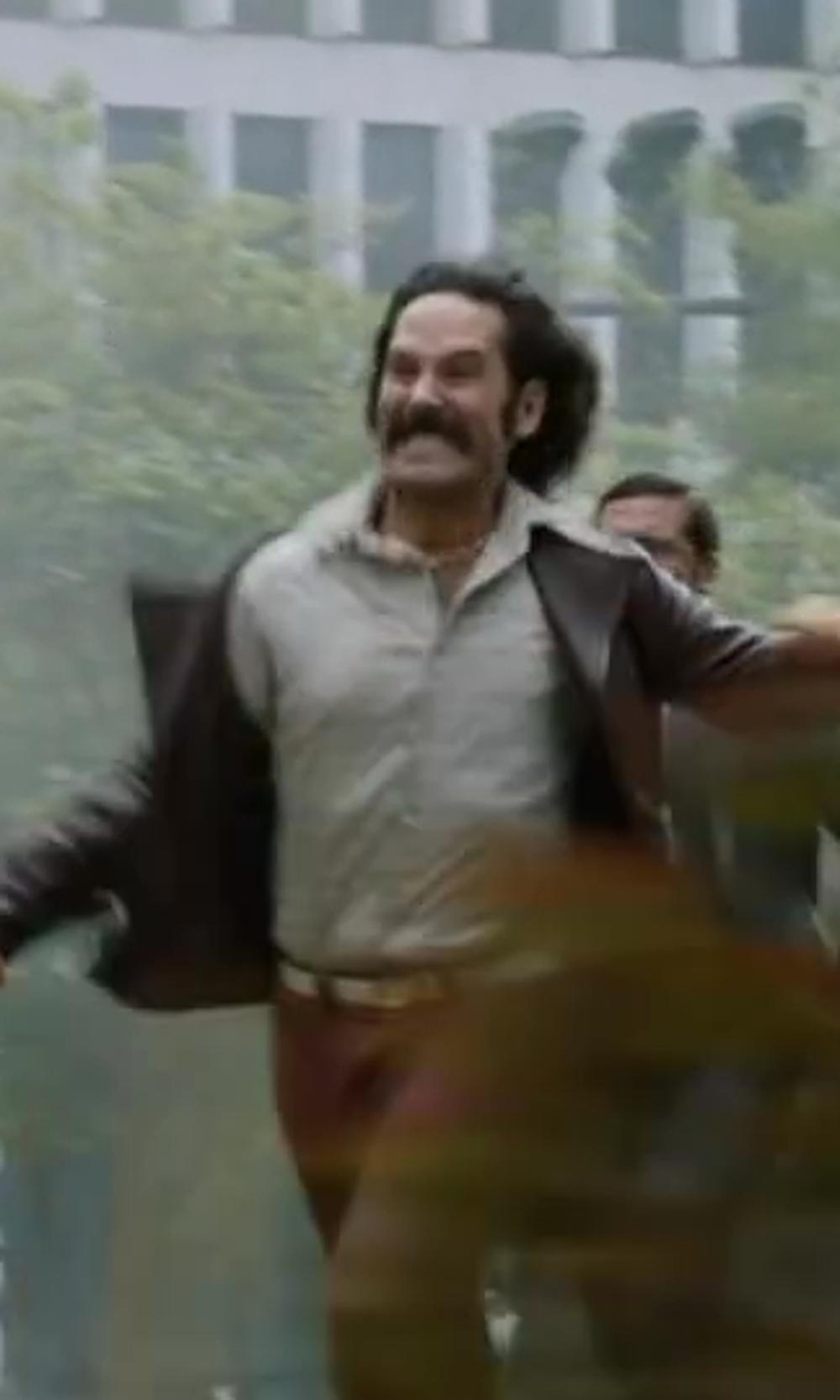 Paul Rudd with Alfani Red Slim-fit Engineered Ombre Stripe Shirt in Anchorman 2: The Legend Continues