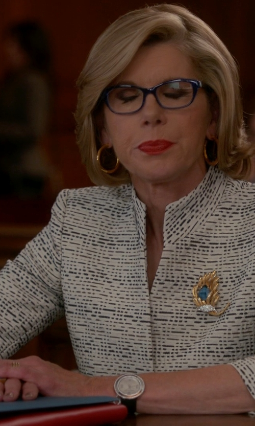 Christine Baranski with St. John Santana Check-Knit Three-Button Blazer in The Good Wife