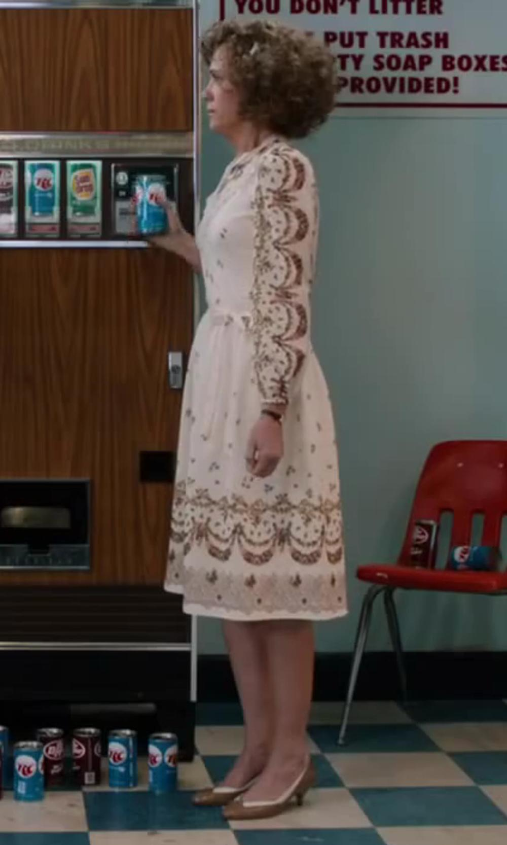 Kristen Wiig with Manila Grace Denim Short Lace Dress in Anchorman 2: The Legend Continues
