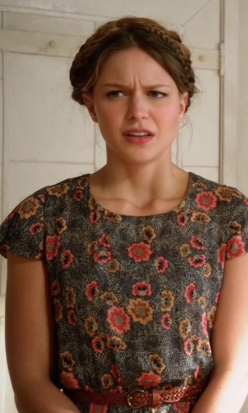 Melissa Benoist with Etoile Isabel Marant Saky Floral-Print Blouson Dress in Supergirl