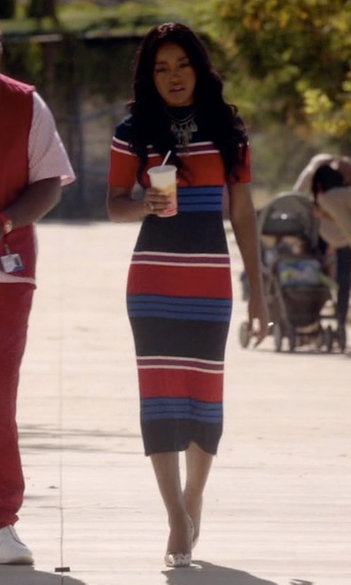 Keke Palmer with SJYP Stripe Knit Dress in Scream Queens