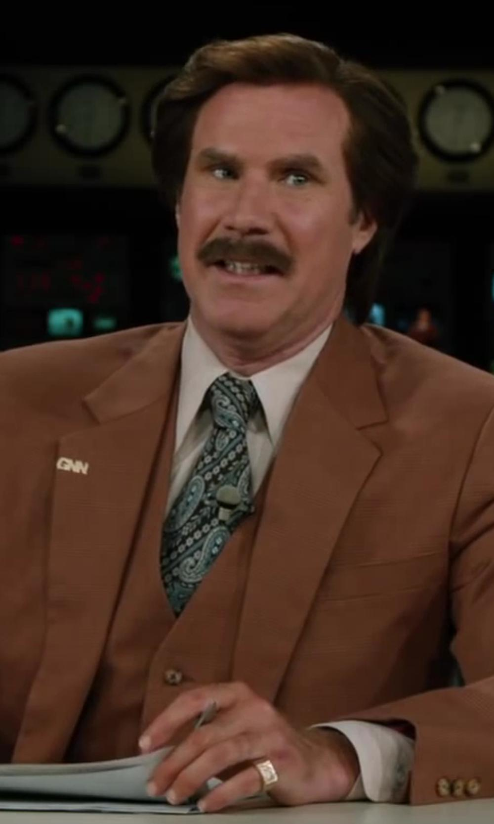 Will Ferrell with Forzieri Ornamental Print Silk Tie in Anchorman 2: The Legend Continues