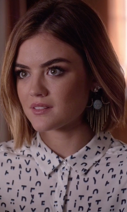 Lucy Hale with Lionette By Noa Sade Garrett Gerson Aqua Earrings in Pretty Little Liars