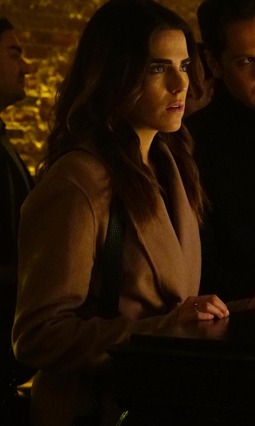 Karla Souza with Alice + Olivia Logan Suede Mid-Length Coat in How To Get Away With Murder