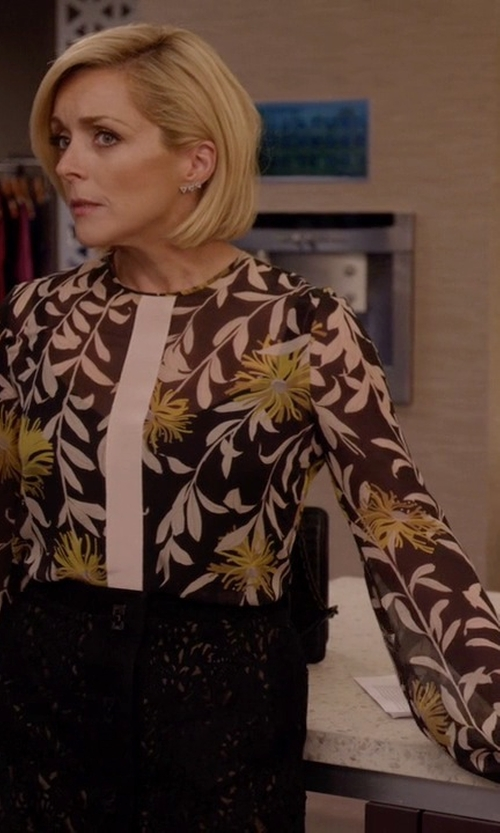 Jane Krakowski with Giambattista Valli Silk Floral Blouse in Unbreakable Kimmy Schmidt