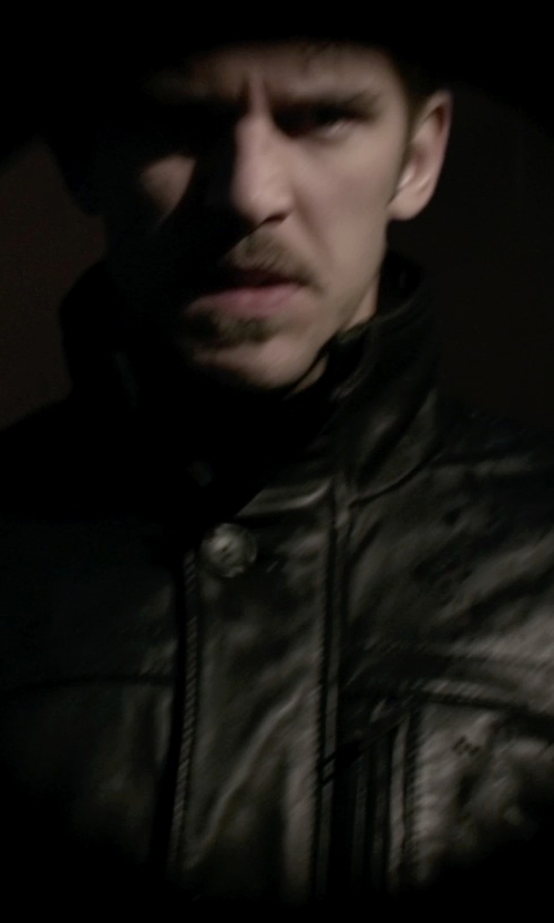 Dan Stevens with IRO Evan Perfecto Leather Jacket in A Walk Among The Tombstones