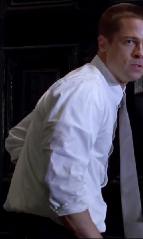 Brad Pitt with Yves Saint Laurent Regular-Fit Solid Linen Dress Shirt in Mr. & Mrs. Smith
