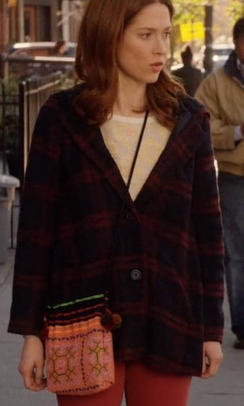 Ellie Kemper with M&F Western  Indian Blanket Fringe Crossbody Bag in Unbreakable Kimmy Schmidt