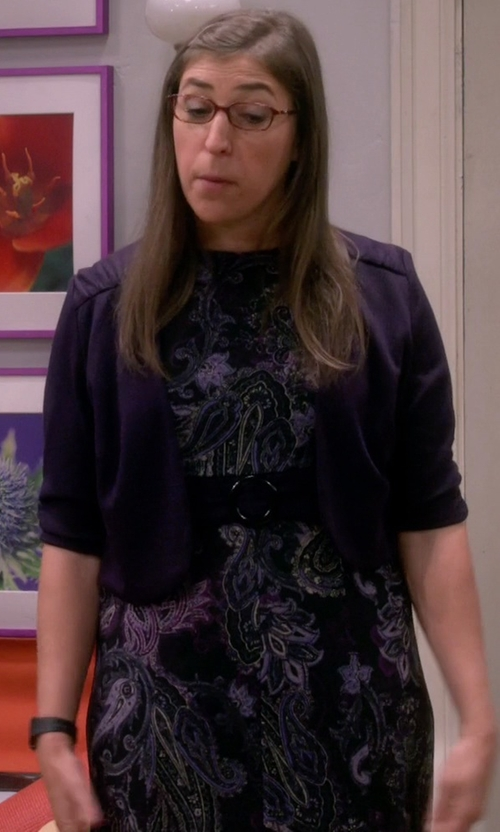 Mayim Bialik with Eliza J Floral Metallic Jacquard Fit & Flare Dress in The Big Bang Theory