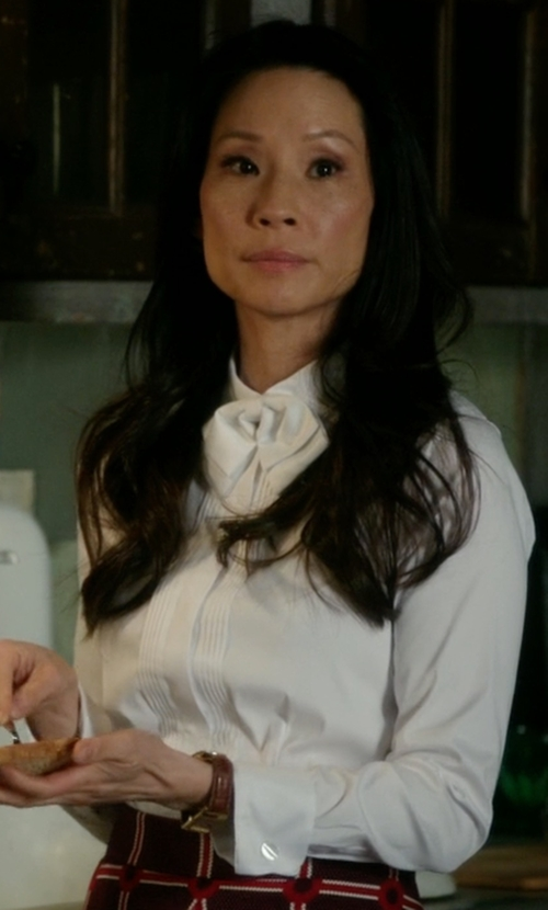 Lucy Liu with French Connection Selena Pussy Bow Blouse in Elementary