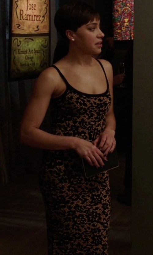 Cush Jumbo with Michael Kors Collection Illusion Lace Tank Dress in The Good Fight