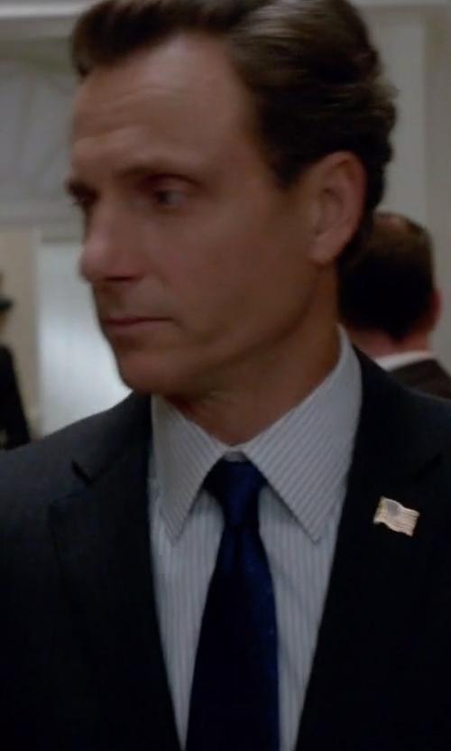 Tony Goldwyn with Thomas Pink Wrighton Stripe Slim Fit Double Cuff Shirt in Scandal