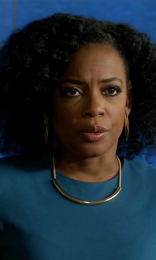 Aunjanue Ellis with Josie Natori Shift Dress in Quantico
