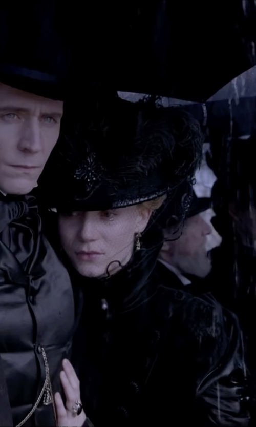 Mia Wasikowska with Kate Hawley (Costume Designer) Custom Made Victorian Mourning Satin Dress in Crimson Peak