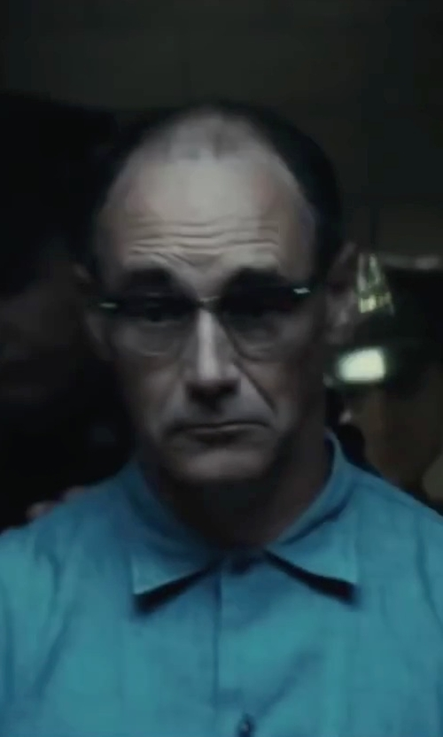 Mark Rylance with Saturdays Surf NYC Crosby Button-Down Cotton Oxford Shirt in Bridge of Spies