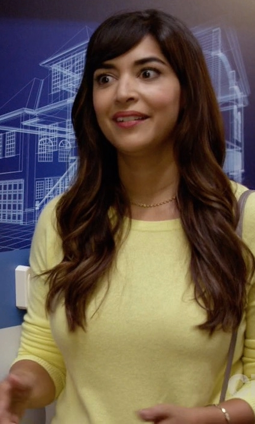 Hannah Simone with Aqua Cashmere High/Low Crewneck Cashmere Sweater in New Girl