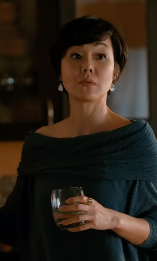 Yunjin Kim with N Nicholas Casper Off-The-Shoulder Fray Top in Mistresses