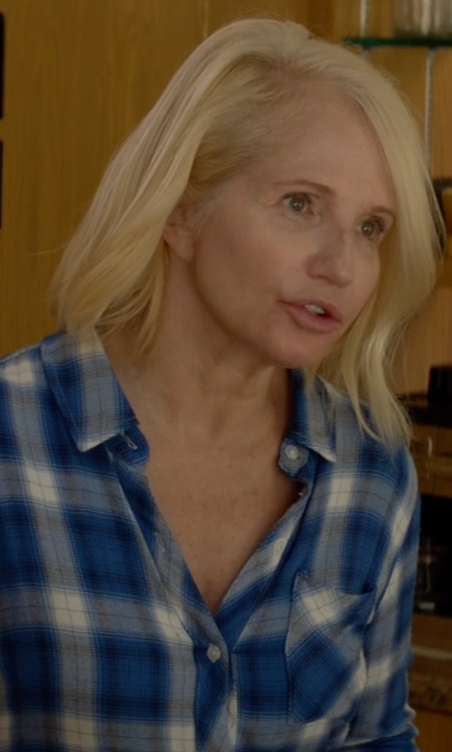 Ellen Barkin with Hudson Jeans Britt Plaid Button-Down Shirt in Animal Kingdom