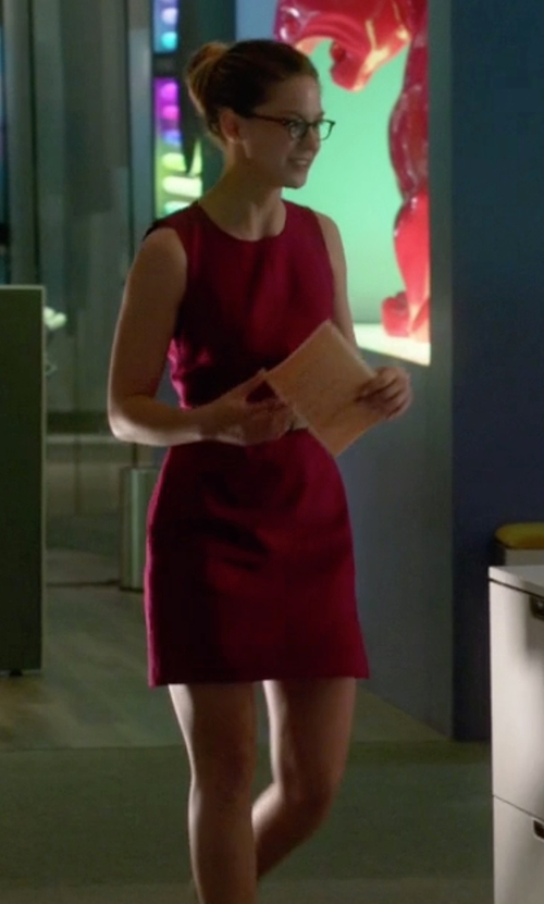 Melissa Benoist with Diane Von Furstenberg Carpreena Mini Dress in Supergirl