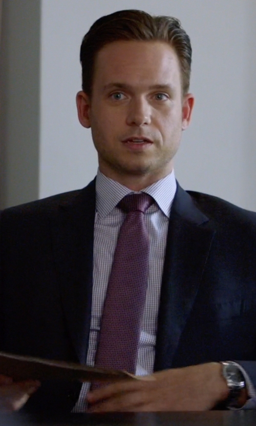 Patrick J. Adams with Eton Graph-Check Woven Dress Shirt in Suits