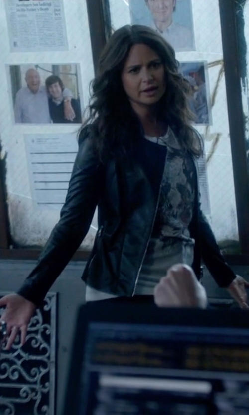 Katie Lowes with Burberry London 'Haylands' Collarless Lambskin Leather Zip Front Jacket in Scandal