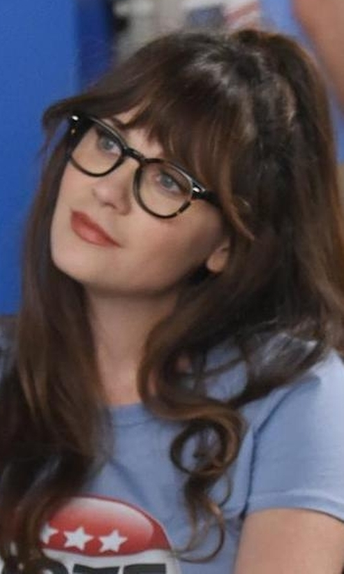 Zooey Deschanel with Oliver Peoples Sheldrake Cocobolo Glasses in New Girl