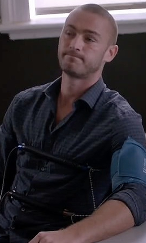 Jake McLaughlin with John Varvatos Star USA Check Long-Sleeve Sport Shirt in Quantico