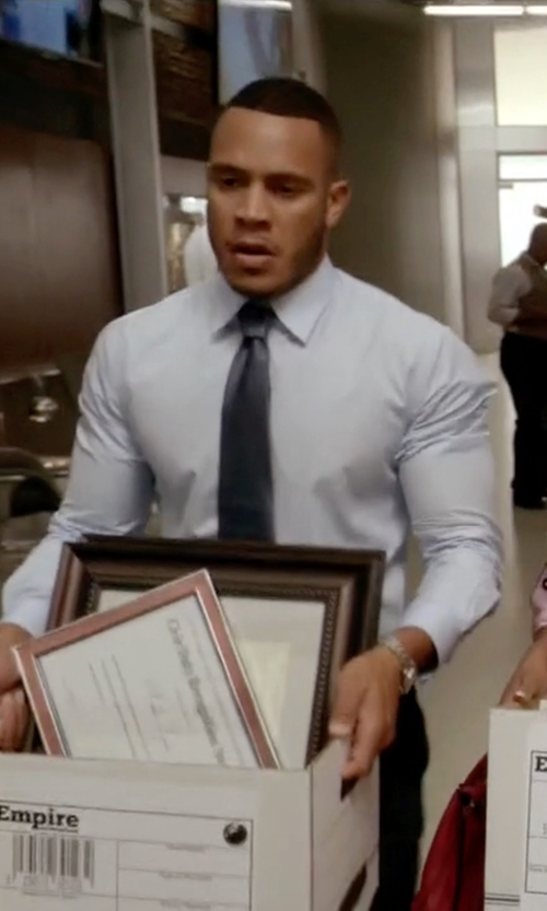 Trai Byers with Yves Saint Laurent Houndstooth Silk Tie in Empire