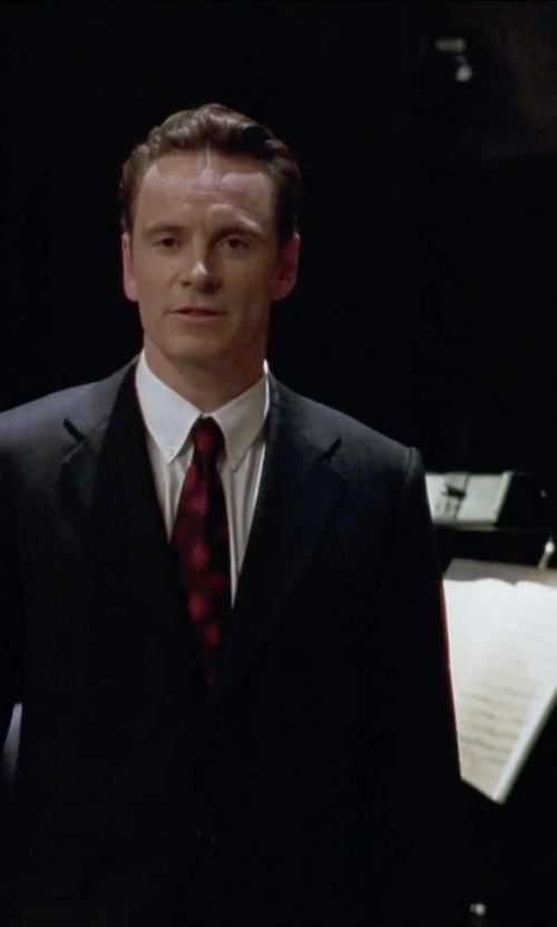 Michael Fassbender with David Donahue Trim Fit Solid Dress Shirt in Steve Jobs