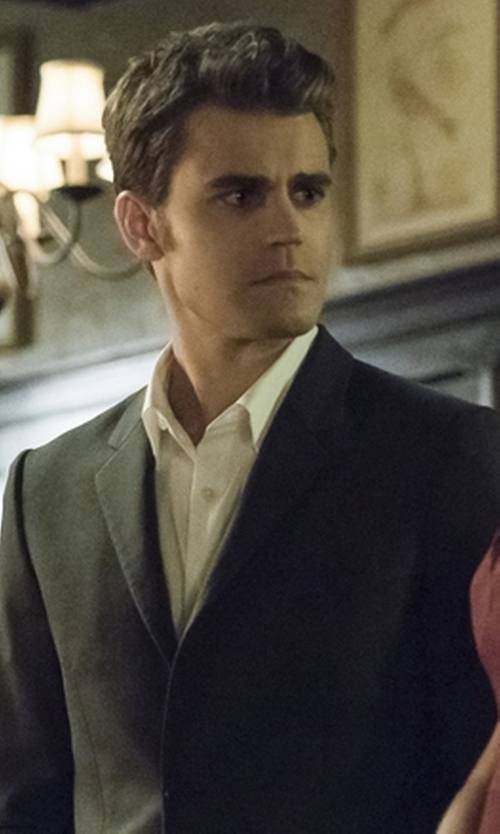 Paul Wesley with Versace Solid Two-Piece Polyester Suit in The Vampire Diaries