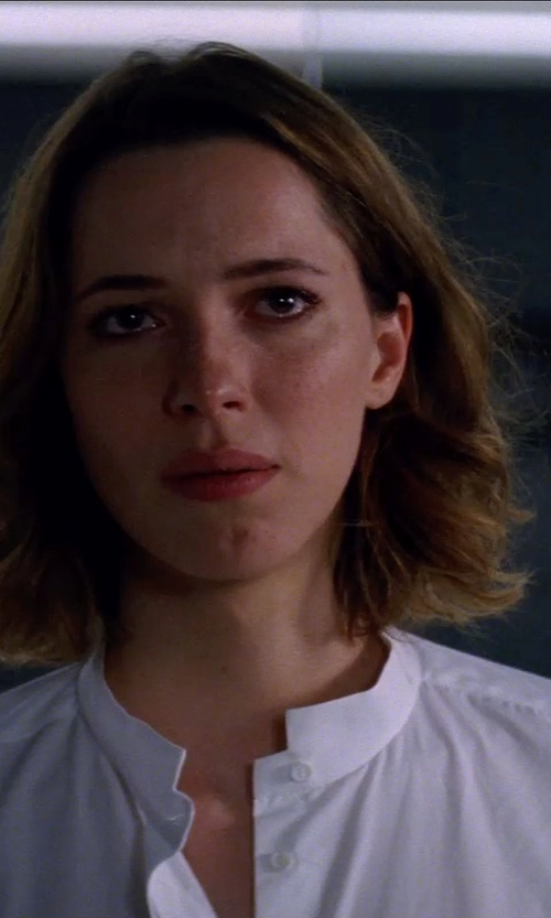 Rebecca Hall with Anto Beverly Hills Custom Made Mandarin Collar Button Down Shirt in Transcendence