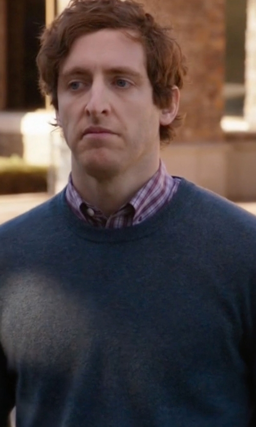 Thomas Middleditch with Nieman Marcus Cotton-Blend Crewneck Sweater in Silicon Valley