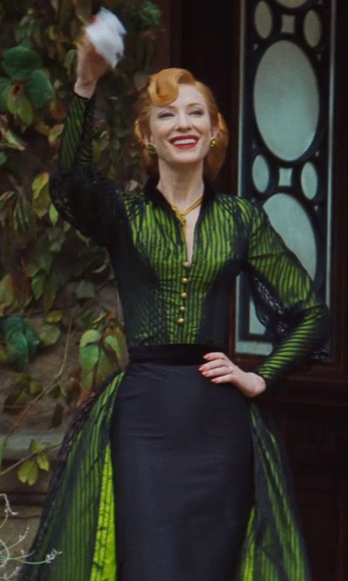Cate Blanchett with Sandy Powell (Costume Designer) Custom Made Green and Black Dress (Lady Tremaine) in Cinderella