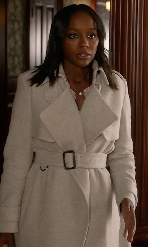 Aja Naomi King with Burberry London Leveson Cashmere Trench Coat in How To Get Away With Murder