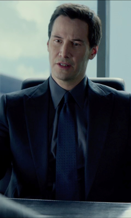 Keanu Reeves with Armani Collezioni Tile Dot Silk Jacquard Tie in Man of Tai Chi