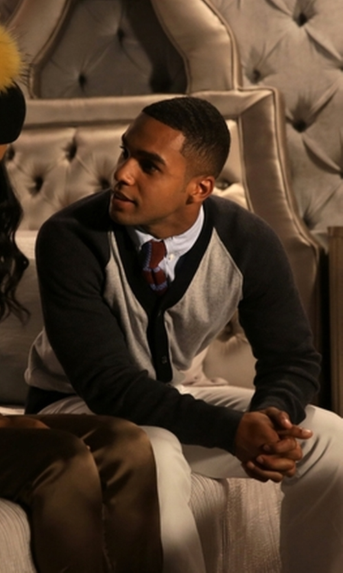 Lucien Laviscount with Brooks Brothers Stripe Knit Tie in Scream Queens