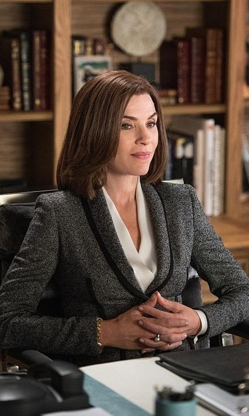 Julianna Margulies with Escada Piped Tweed Jacket in The Good Wife