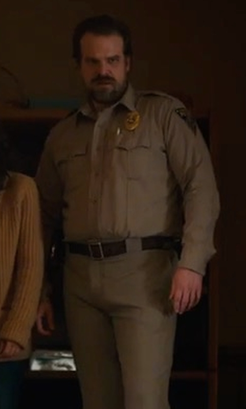 David Harbour with Shinola Reversible Leather Belt in Stranger Things