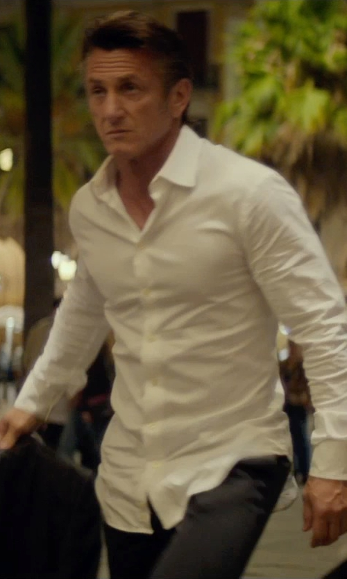 Sean Penn with Boss Hugo Boss Jameson Slim Fit Tuxedo Shirt in The Gunman